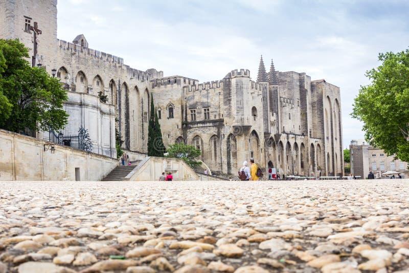 Het Paleis van pausen in Avignon, Frankrijk, Europa stock afbeelding