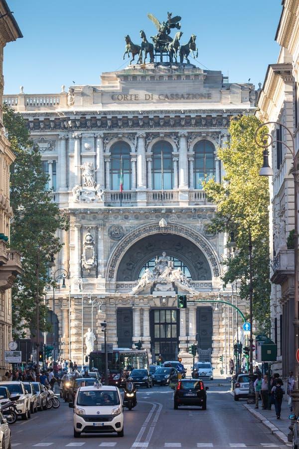 Het Paleis van Rechtvaardigheid, Rome het Italiaans: Palazzo Di Giustizia, zetel van het Hooggerechtshof van Cassatie Italië stock foto