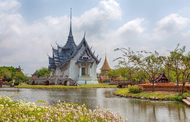 Het Paleis van Sanphetprasat van Ayutthaya in Oud Stadspark, Muang Boran, de provincie van Samut Prakan, Thailand royalty-vrije stock foto