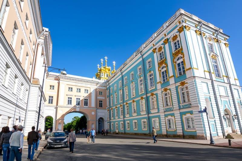 Het paleiskerk van Catherine in Tsarskoe Selo Pushkin, Heilige Petersburg, Rusland stock foto's