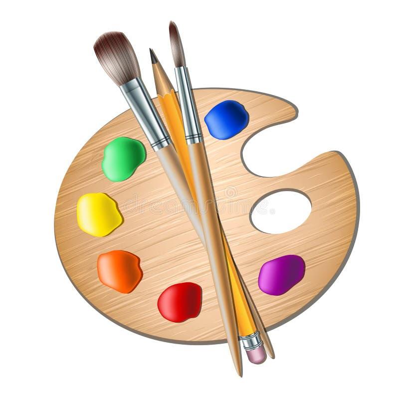 Het palet van de kunst met verfborstel voor tekening stock illustratie