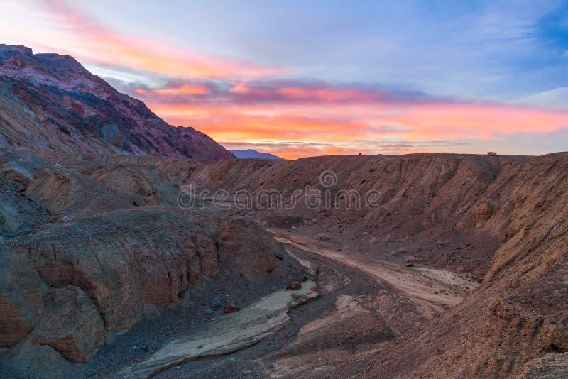 Het Paletgebied van de kunstenaar bij zonsopgang Het Nationale Park van de doodsvallei californi? De V.S. royalty-vrije stock afbeelding