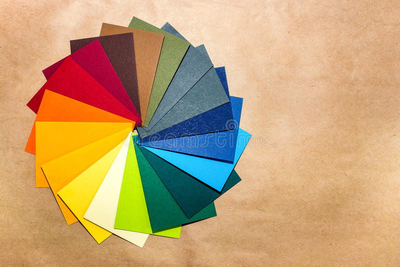 Het paletgids van de kleur De gekleurde geweven document catalogus van het steekproevenmonster Heldere en sappige regenboogkleure stock foto