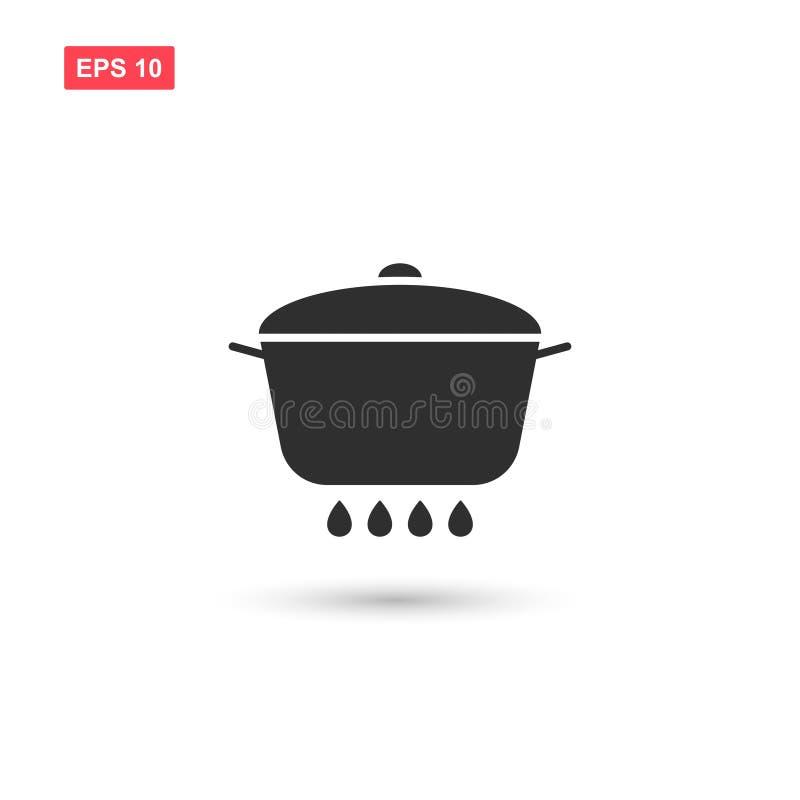 Het pan vectorontwerp van het brandpictogram isoleerde 4 stock illustratie