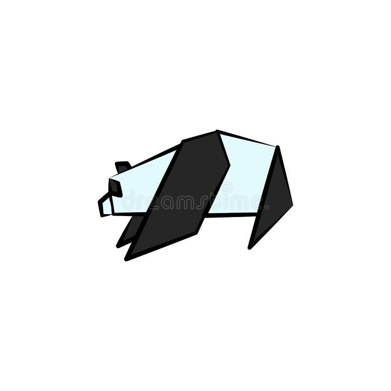 het panda gekleurde pictogram van de origamistijl Element van dierenpictogram Gemaakt van document in origami de pandapictogram v stock illustratie