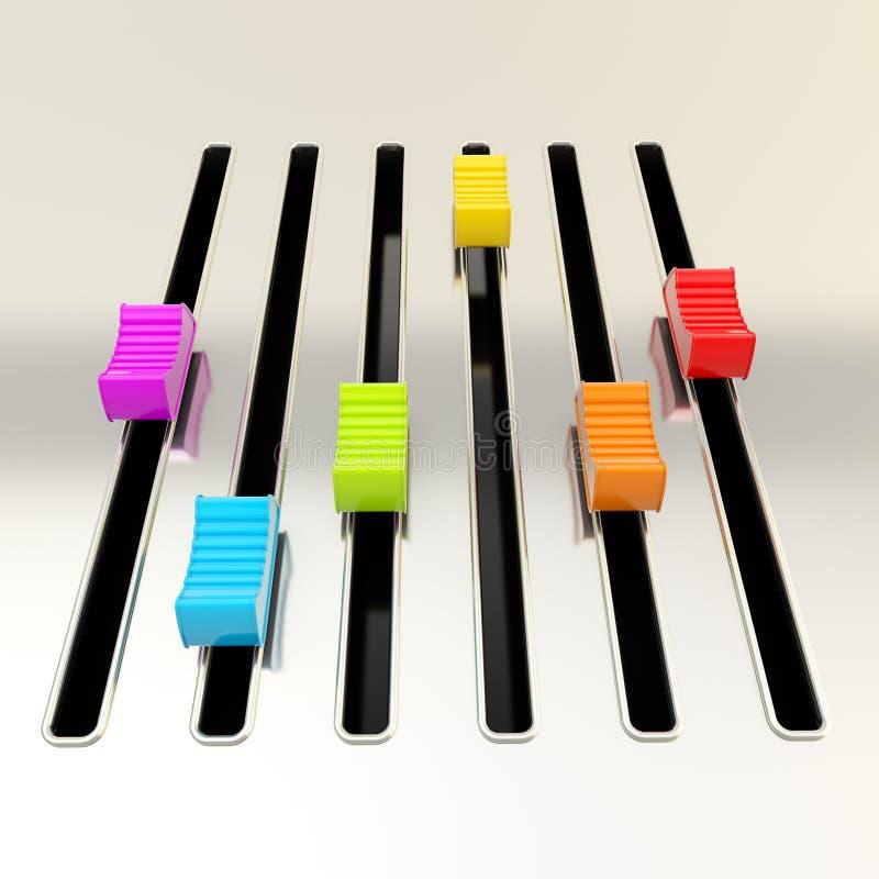 Het paneel van de het metaalmixer van Shimy met kleurrijke schuiven royalty-vrije illustratie