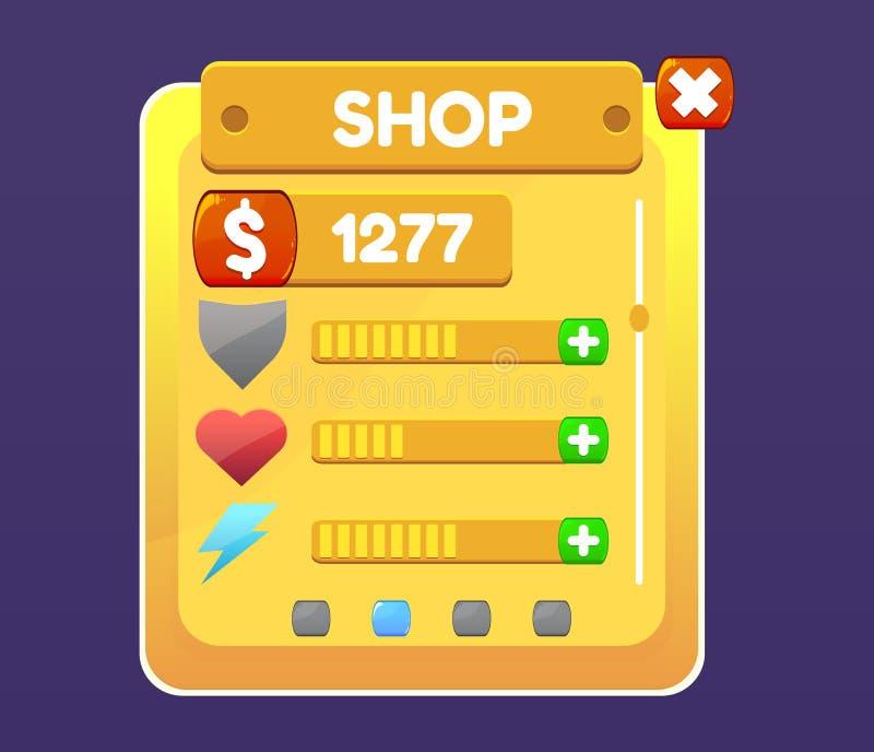 Het paneel van winkelmuntstukken, spelactiva met pictogrammen Vector illustratie vector illustratie