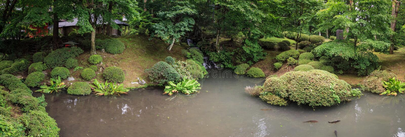 Het panorama landascaped tuin, nikko, Tochigi-Prefectuur, Japan royalty-vrije stock afbeelding
