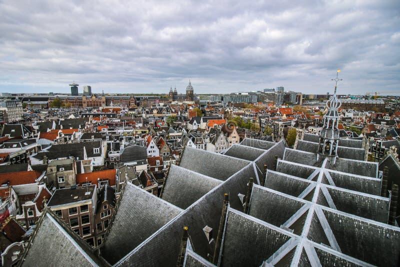 Het panorama van Amsterdam van de kathedraal royalty-vrije stock foto