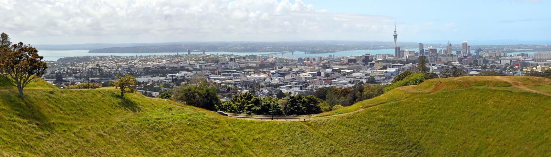 Het Panorama van Auckland van Onderstel Eden, Nieuw Zeeland royalty-vrije stock foto