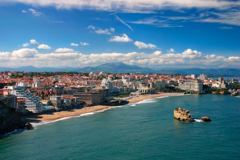 Het panorama van Biarritz stock afbeeldingen