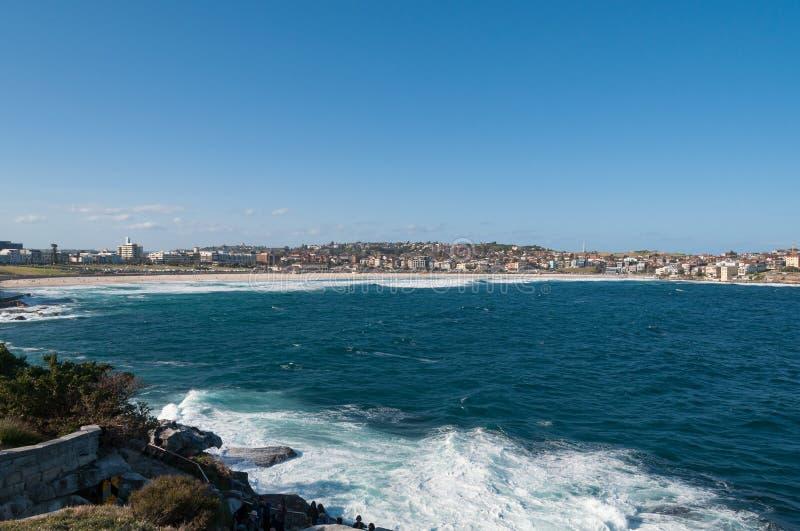 Het panorama van het Bondistrand met kalme oceaan op een zonnige dag royalty-vrije stock afbeelding