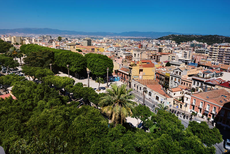 Het panorama van Cagliari stock fotografie