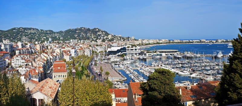 Het panorama van Cannes, Frankrijk stock foto
