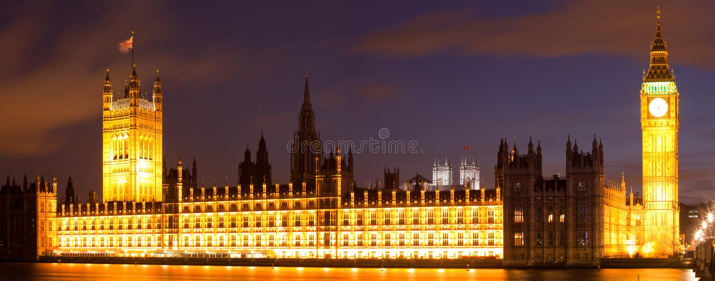 Het Panorama van de Big Ben Londen stock afbeeldingen