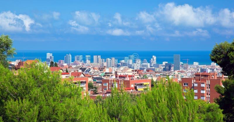 Het panorama van de binnenstad van Barcelona stock fotografie