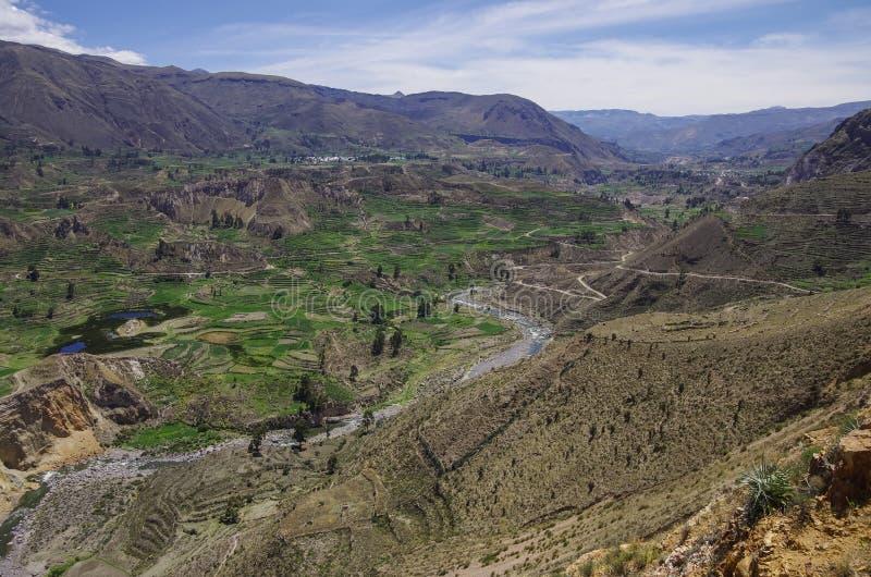 Het panorama van de Colcacanion, Peru, Zuid-Amerika Incas om Farmin te bouwen royalty-vrije stock foto's