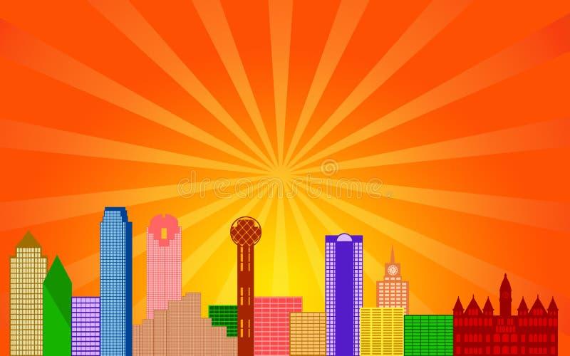 Het Panorama van de Horizon van de Stad van Dallas Texas stock illustratie