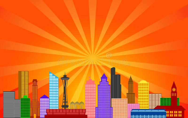Het Panorama van de Horizon van de Stad van Seattle Washington royalty-vrije illustratie