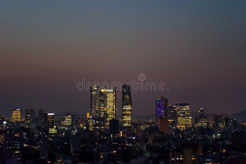 Het panorama van de de Horizonzonsondergang van Mexico-City royalty-vrije stock foto
