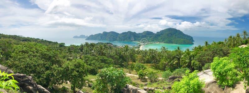 Het panorama van het de meningspunt van Thailand Phi-Phi Don stock foto's