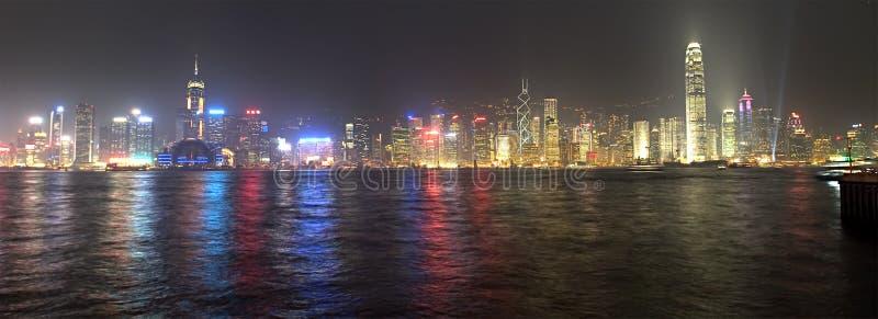 Het Panorama van de Nacht van Hongkong royalty-vrije stock foto