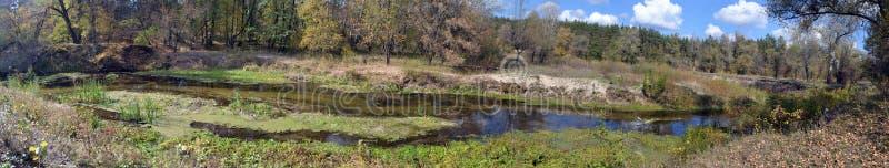 Het panorama van de rivier stock afbeeldingen
