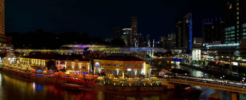 Het Panorama van de Scène van de Nacht van Singapore van de Kade van Clarke royalty-vrije stock foto