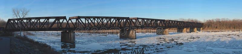 Het Panorama van de spoorwegbrug royalty-vrije stock afbeeldingen