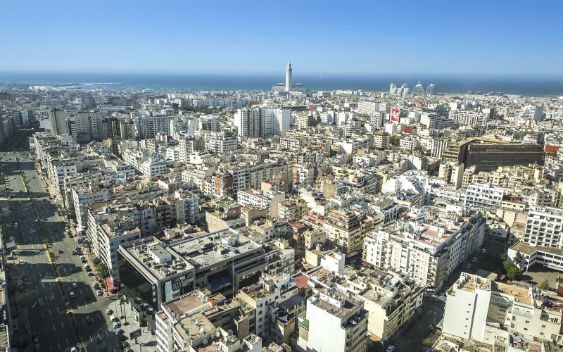 Het panorama van de stad Casablanca, Marokko afrika stock afbeelding
