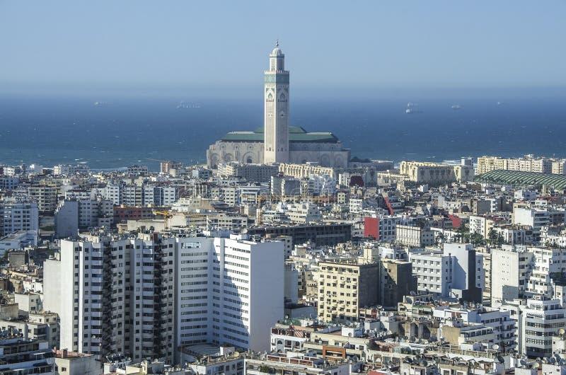 Het panorama van de stad Casablanca, Marokko afrika stock fotografie