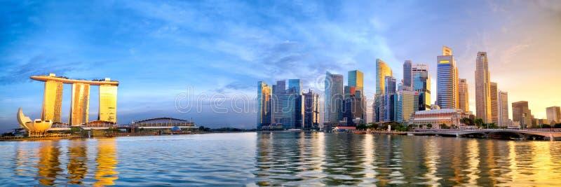 Het panorama van de de stadshorizon van Singapore royalty-vrije stock afbeeldingen