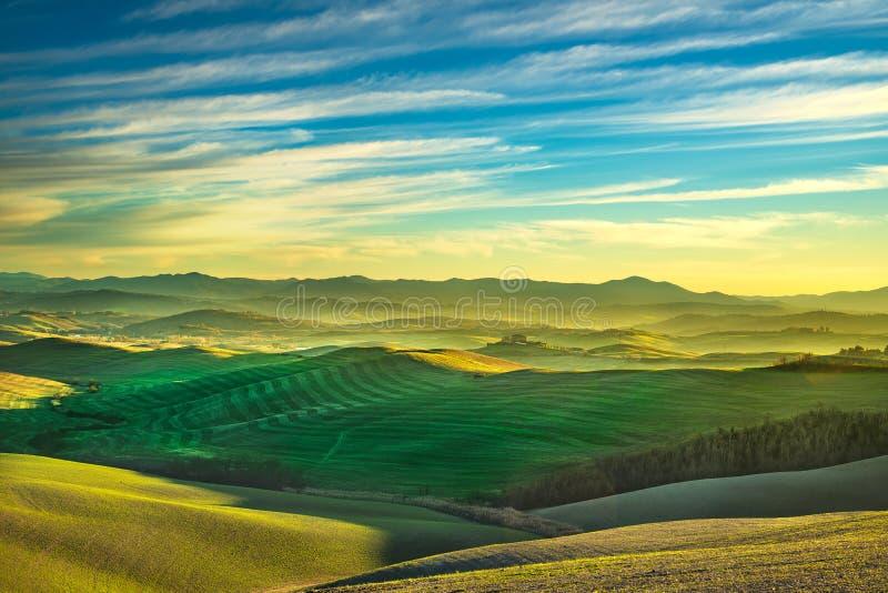 Het panorama van de Volterrawinter, rollende heuvels en groene gebieden op zonnen stock foto