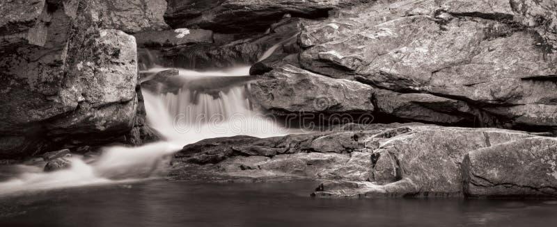 Het Panorama van de waterval in B&W stock fotografie