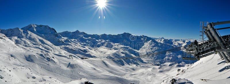 Het Panorama van de Winter van alpen stock foto
