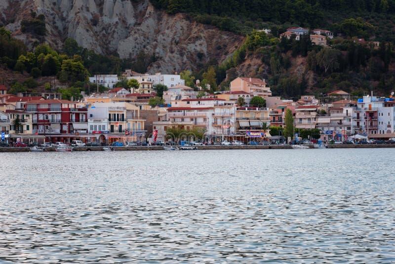 Het panorama van de Zantestad van het overzees Zonnige de zomerdag op het Eiland Zakynthos Griekenland royalty-vrije stock foto