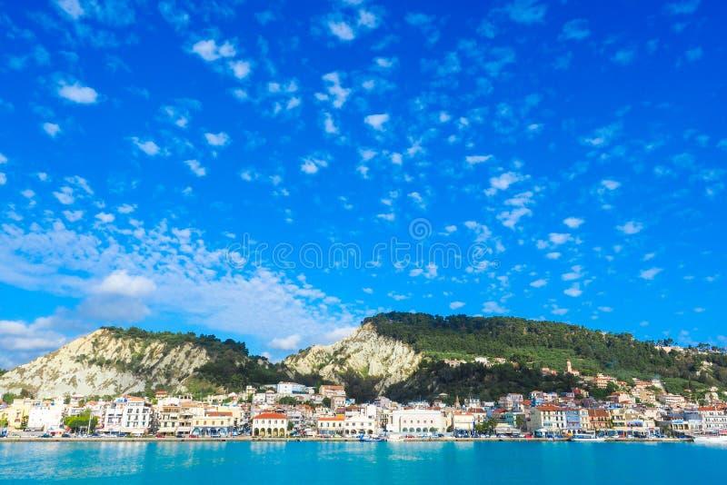 Het panorama van de Zantestad van het overzees Zonnige de zomerdag op het eiland stock foto