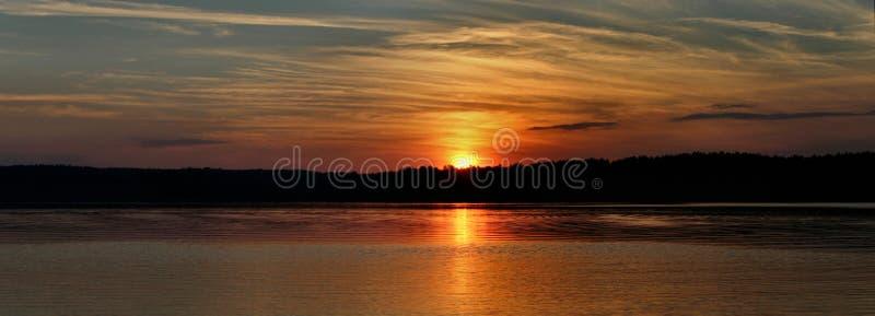 Het panorama van de zonsondergang stock afbeelding