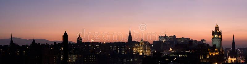 Het Panorama van de Zonsondergang van Edinburgh stock afbeelding