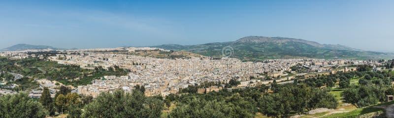 Het panorama van Fes-stadsstad in Marokko royalty-vrije stock foto