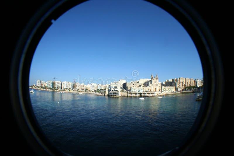 Het panorama van Fisheye van Sliema, Malta stock afbeeldingen
