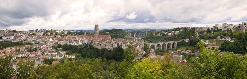 Het Panorama van Fribourg, Zwitserland stock foto's