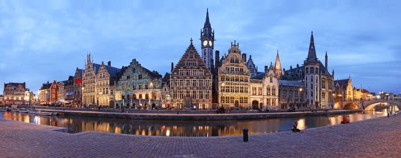 Het Panorama van Gent XXL stock afbeeldingen