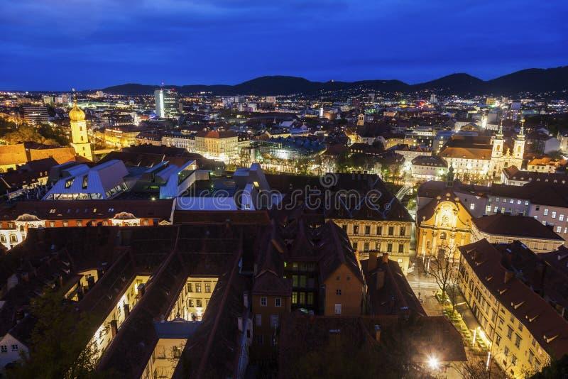 Het panorama van Graz van Kasteelheuvel royalty-vrije stock fotografie