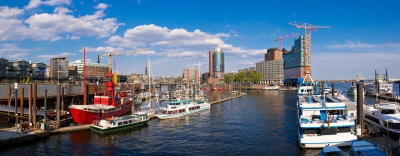 Het panorama van Hamburg stock afbeelding