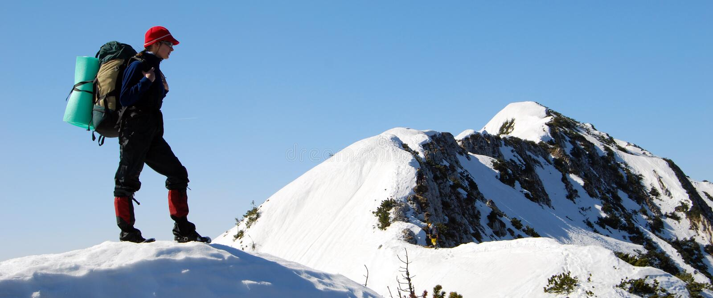 Het panorama van het alpinisme stock foto