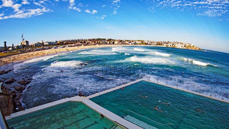 Het Panorama van het Bondistrand, Sydney, Australië stock afbeelding