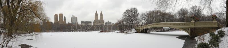 Het panorama van het Central Park met de Brug van de Boog in de winter royalty-vrije stock fotografie