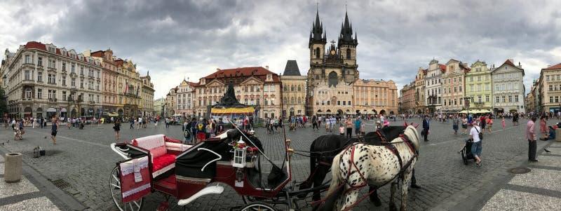 Het Panorama van het de Stadscentrum van historisch Praag, Tsjechische Republiek royalty-vrije stock foto