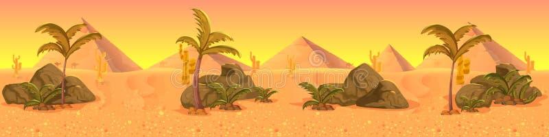 Het panorama van het de woestijnlandschap van Wilde Westennen royalty-vrije illustratie